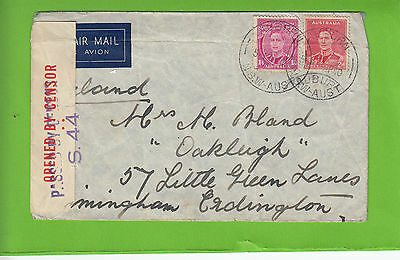 K 1564 Auburn NSW April 1940 censored cover air UK; 1/6d rate; 2 stamps used