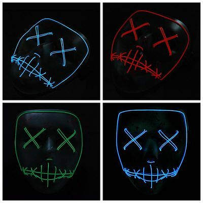 2017 The PURGE Movie EL Wire DJ Party Festival Halloween Costume LED Mask