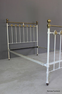 Antique Victorian Cast Iron & Brass Art Nouveau Double Bed Frame