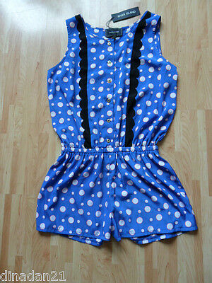 River Island playsuit size 10, blue/spot, sleveless, brand new