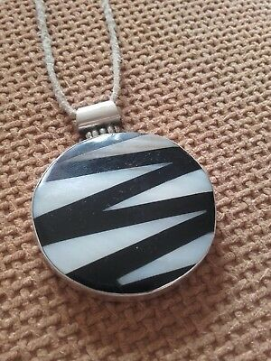 Sterling Silver Large Pendant With   Inlaid Shell