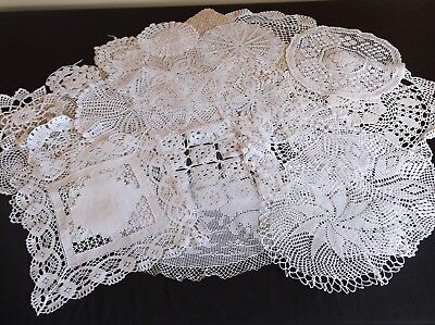 Vintage 22 Hand Crochet And Lace Doilies For Craft/cutting/repair