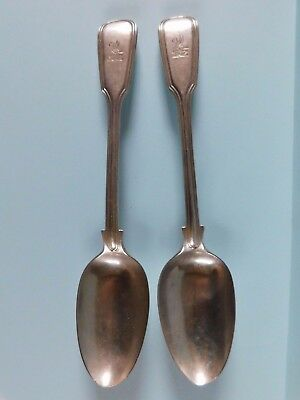 c1757 ANTIQUE PAIR 18THC CRESTED  SOLID SILVER SERVING SPOONS BY MATTHEW COOPER