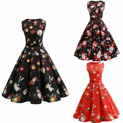 Women PLUS SIZE 50's Dress Red Rockabilly Pin Up Retro Vintage Christmas XMAS