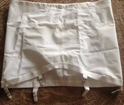 "Vintage Playtex white Double Diamonds open bottom girdle 6 hook 43-44"" waist-6X"