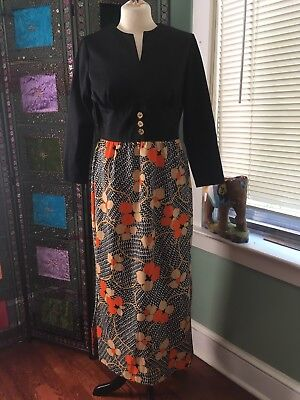 Women's MOD RETRO Dress M Medium Empire Waist Polyester EUC Boho Hippie Party