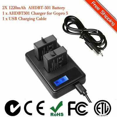 2 x Replacement Battery and 2-Channel Charger for GoPro Hero 5 Hero5 Black IB GT