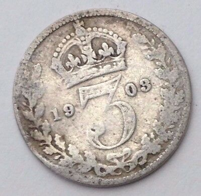 Dated : 1903 - Silver Coin - Threepence / 3d - King Edward VII - Great Britain