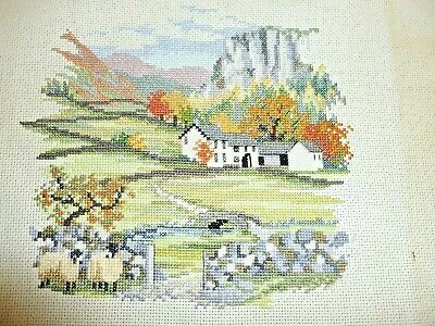 Pretty hand-stitched completed cross stitch embroidery country cottage farm scen