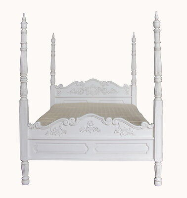 5' King Size Colonial Four Poster Bed Solid Mahogany Antique White NEW B025P