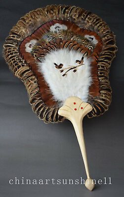 Exquisite Chinese Collection Birds Feathers Mademade Feather fan Art Decoration