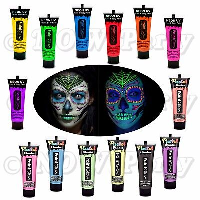 PAINT GLOW in The Dark Neon UV Face Body Day of The Dead Halloween Make Up Party