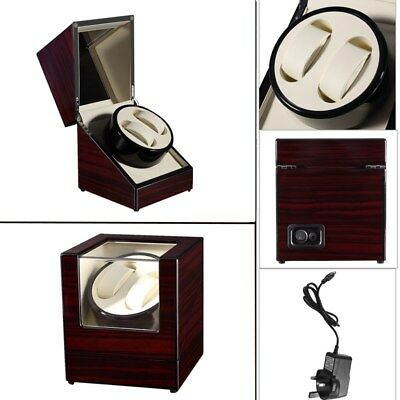 Wooden 2 Slot Watch Winder Rotation Watch Display Box Storage Organizer Case UK