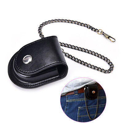 PU leather pocket watch holder storage case coin purse pouch bag with chain fn