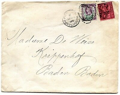 Gb 1896 7 1/2D Rated Envelope To Germany.