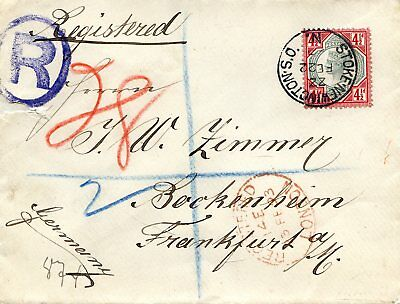 Gb 1893 Registered Envelope To Germany With 4 1/2D Jubilee Tied