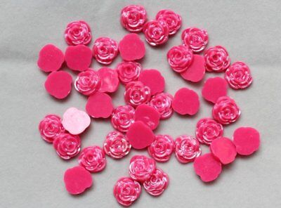 250pcs -Kitsch Wholesale acrylic 12mm rose Cab cabochons red diy you pick colors