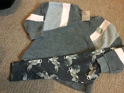 NEXT BNWT Girls Outfit oversized Jumper and Unicorn leggings age 3 Years
