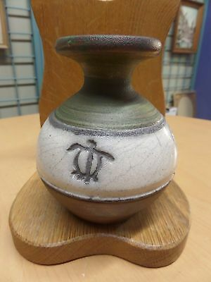 Raku Style Pottery Vase Made in Hawaii by Ben Diller Petroglyphs figures