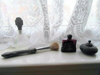 Vintage Make Up Artefacts - Glass, Real Silver