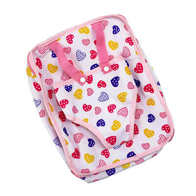 Baby Doll Carrier Backpack Storage for Doll Clothes Fits 18inch Doll Pink