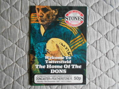 Doncaster V Featherstone Rugby League Match Programme December 1987