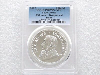 2017 South Africa 50th Anniversary Krugerrand Silver Proof 1oz Coin PCGS PR69 DC