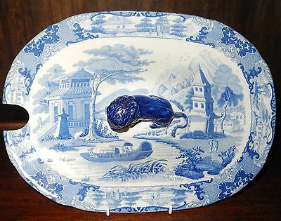 Antique pearlware Chinoiserie blue transfer printed lid (Canton river Hamilton)