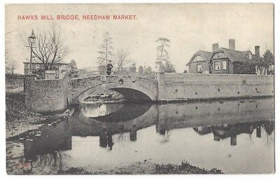 NEEDHAM MARKET Hawks Mill Bridge, Old Postcard Postally Used 1906