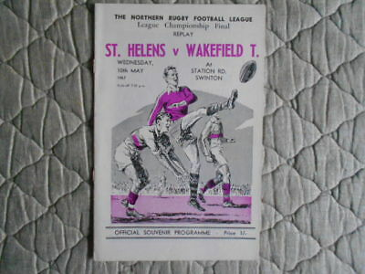 St Helens V Wakefield Championship Final Replay Match Programme 1967