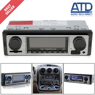 Classic Retro Look Brushed Metal Mechless Single DIN Bluetooth USB AUX Car Radio