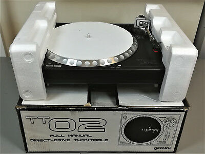 Boxed Gemini TT02 MKII Direct Drive DJ Vinyl Record Player Turntable SINGLE DECK