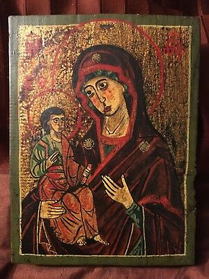 ANTIQUE Old Russian Hand Painted Wooden Icon 19th Century