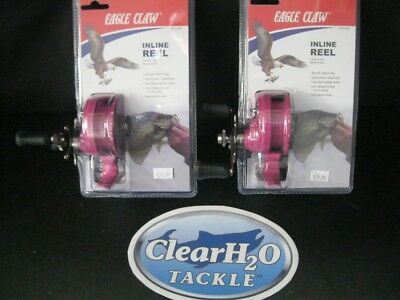 2 Pack Of Eagle Claw Inline Ice Fishing Reel (Pink)  Bluegill Walleye Perch