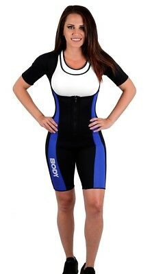 (Lrg, BLUE FLEX) - Body SPA Light Body Sauna Suit Neoprene Full Body Shaper