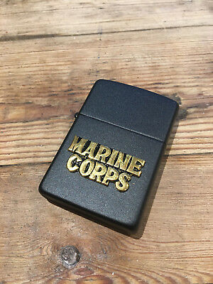 Rare US Marine Corps Zippo lighter, black, collectible, mint condition