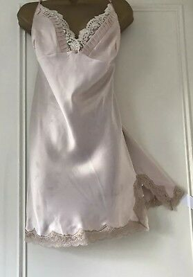 """Autograph M&S Silky Glossy Liquid Satin Lacy Nightie Chemise Nude Pink UK 22 46"""""""