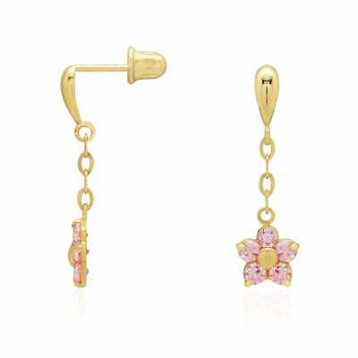 Round Cut Pink Tourmaline Flower Dangle Stud Screwback Earrings 14k Yellow Gold