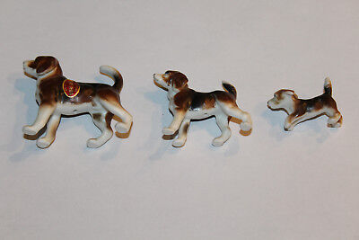 Vintage Set of 3 Sweet Bone China Beagle or Fox Hound Dogs Made in Japan