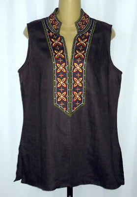 CHICO'S Size 2 L Embroidered Hook Front Embroidered Brown Linen Vest