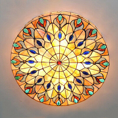 "20"" Stained Glass Ceiling Light Fixture Tiffany Style Ceiling Mounted Mission"