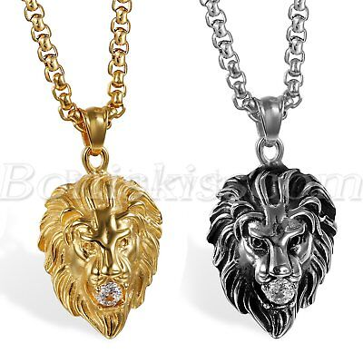 Men's Punk Rock Stainless Steel Cubic Zirconia Lion Head Pendant Necklace Chain