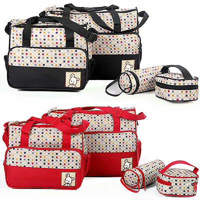 Baby Changing Diaper Nappy Bag Tote Mummy Mother Multifunctional Handbag 5PCS