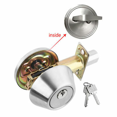 Single Cylinder Deadbolt Entry Handle Home Door Lock Set Satin Nickel with Keys