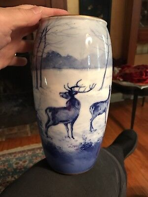 Beautiful Royal Doulton Vase Hand Painted Blue Winter Scene With Deer Vintage