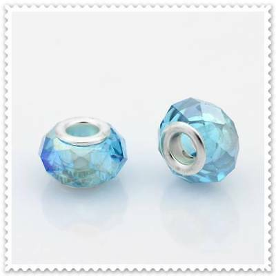 European AB Sky /  Light Blue Glass Bead, 3 In a pack