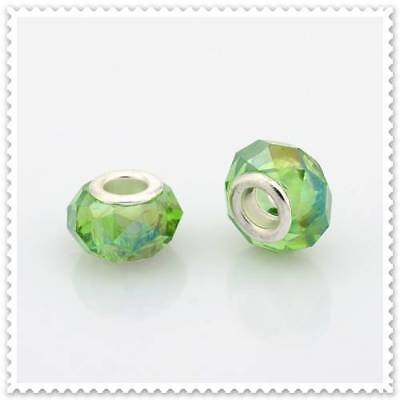 European AB Light Green Glass Bead, 3 In a pack