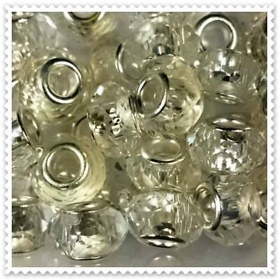 European Clear Glass Bead, 3 In a pack