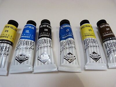 6 Daler Rowney Designer Gouache 15ml tubes Assorted colours