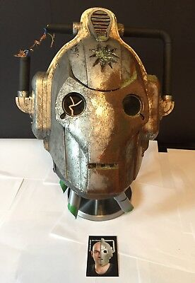 Dr Who Battle Damaged Cyberman Helmet Prop with Light/Sound Signed By Jon Davey
